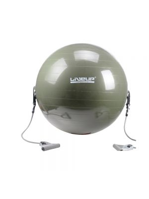 Liveup anti-burst gym ball with resistance tube handles